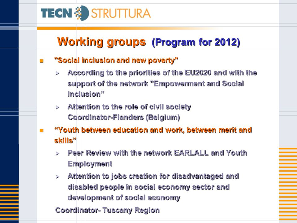 Working groups (Program for 2012)