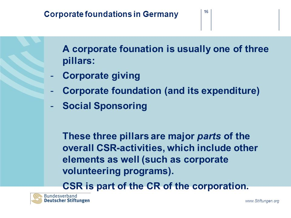 16 www.Stiftungen.org Corporate foundations in Germany A corporate founation is usually one of three pillars: -Corporate giving -Corporate foundation (and its expenditure) -Social Sponsoring These three pillars are major parts of the overall CSR-activities, which include other elements as well (such as corporate volunteering programs).