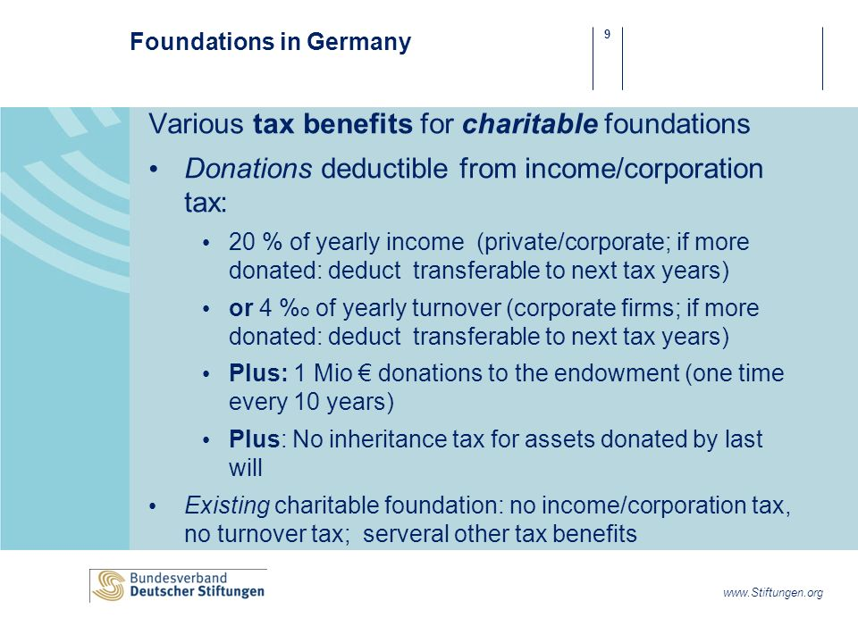 9 www.Stiftungen.org Foundations in Germany Various tax benefits for charitable foundations Donations deductible from income/corporation tax: 20 % of yearly income (private/corporate; if more donated: deduct transferable to next tax years) or 4 % o of yearly turnover (corporate firms; if more donated: deduct transferable to next tax years) Plus: 1 Mio donations to the endowment (one time every 10 years) Plus: No inheritance tax for assets donated by last will Existing charitable foundation: no income/corporation tax, no turnover tax; serveral other tax benefits