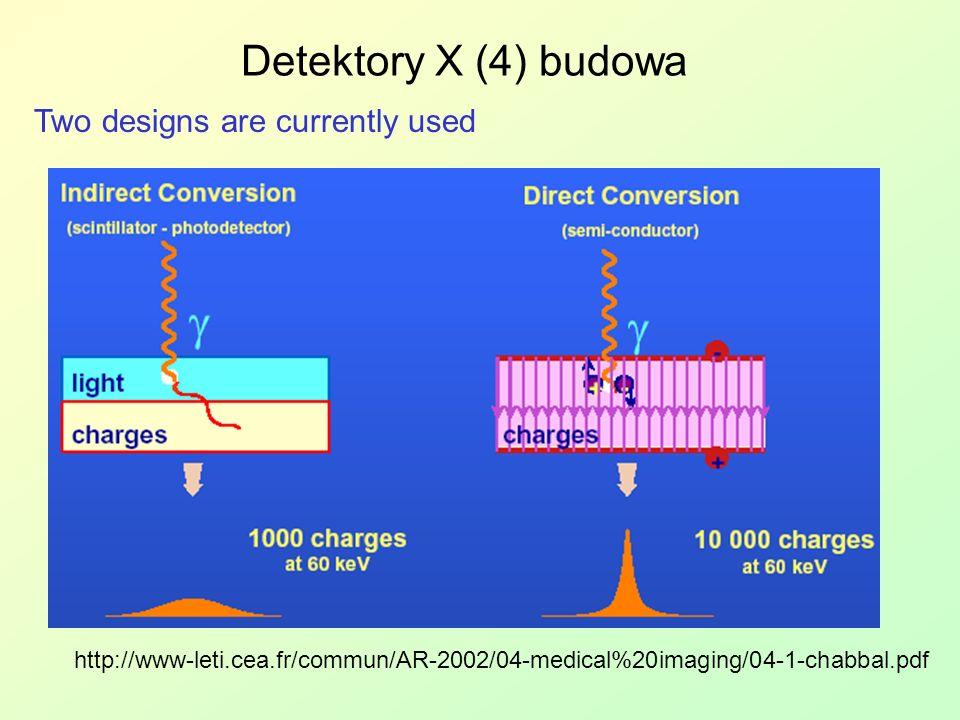 Detektory X (4) budowa Two designs are currently used http://www-leti.cea.fr/commun/AR-2002/04-medical%20imaging/04-1-chabbal.pdf