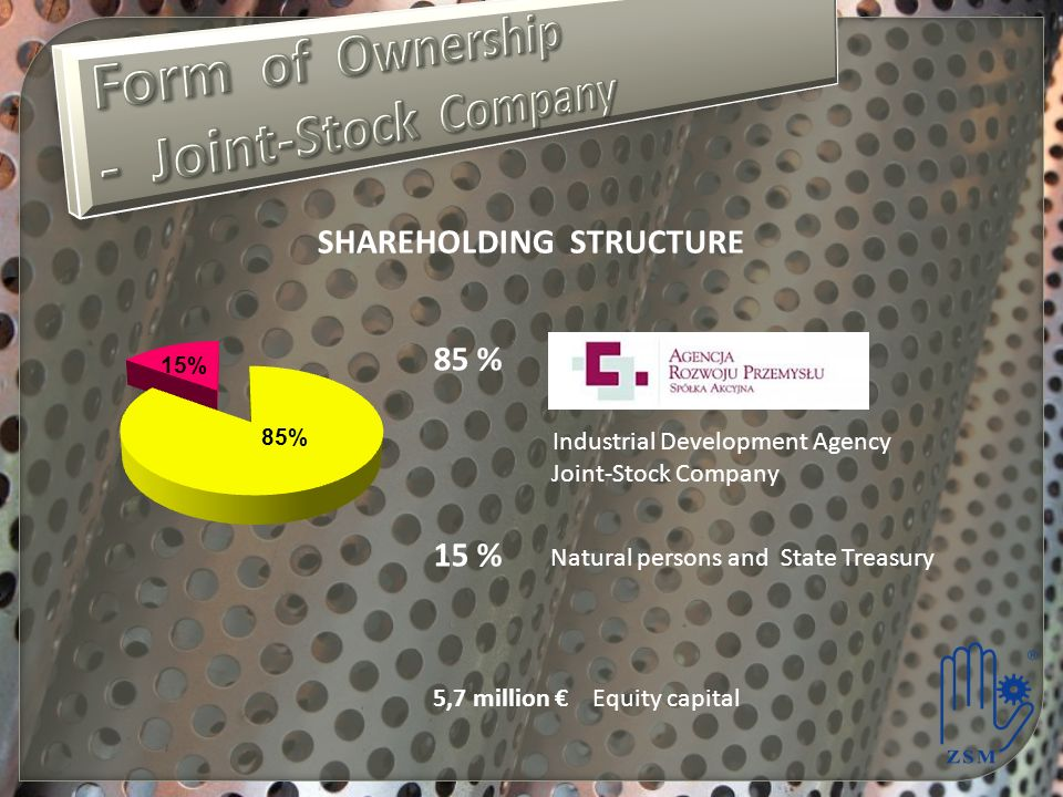 SHAREHOLDING STRUCTURE 85 % Industrial Development Agency Joint-Stock Company 15 % Natural persons and State Treasury 5,7 million Equity capital