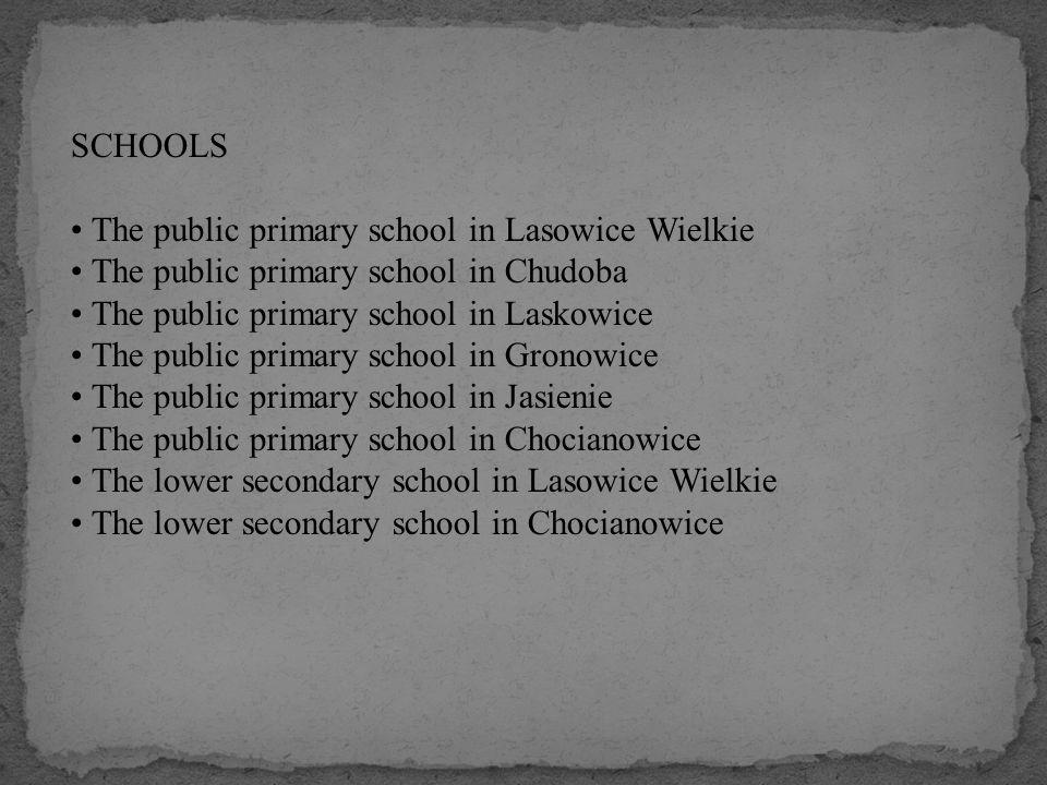 SCHOOLS The public primary school in Lasowice Wielkie The public primary school in Chudoba The public primary school in Laskowice The public primary s