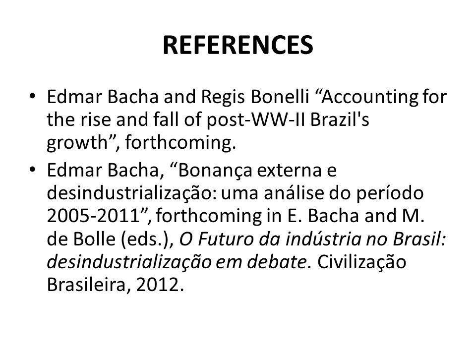 REFERENCES Edmar Bacha and Regis Bonelli Accounting for the rise and fall of post-WW-II Brazil's growth, forthcoming. Edmar Bacha, Bonança externa e d