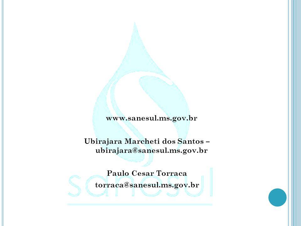 www.sanesul.ms.gov.br Ubirajara Marcheti dos Santos – ubirajara@sanesul.ms.gov.br Paulo Cesar Torraca torraca@sanesul.ms.gov.br