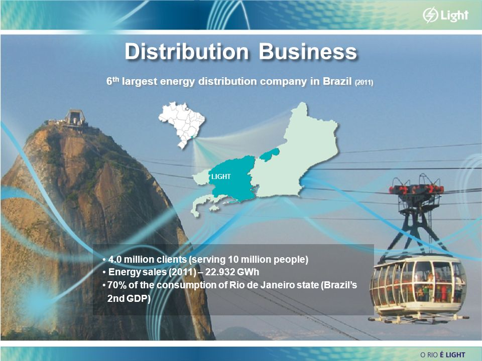 6 6 Distribution Business 4.0 million clients (serving 10 million people) Energy sales (2011) – 22.932 GWh 70% of the consumption of Rio de Janeiro st