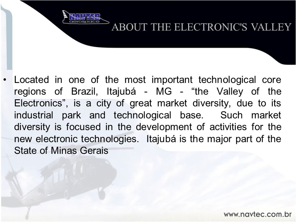 Located in one of the most important technological core regions of Brazil, Itajubá - MG - the Valley of the Electronics, is a city of great market div