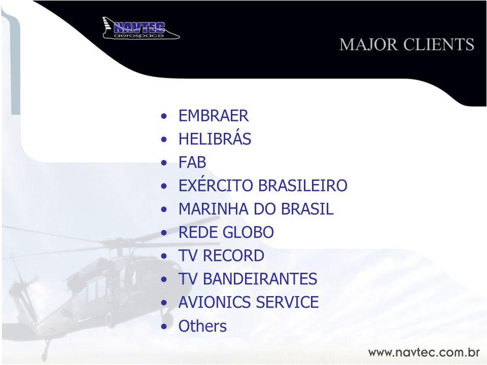 EMBRAER HELIBRÁS FAB EXÉRCITO BRASILEIRO MARINHA DO BRASIL REDE GLOBO TV RECORD TV BANDEIRANTES AVIONICS SERVICE Others MAJOR CLIENTS