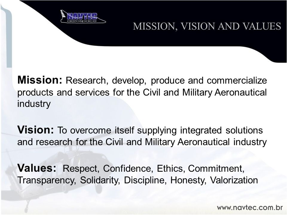 Mission: Research, develop, produce and commercialize products and services for the Civil and Military Aeronautical industry Vision: To overcome itself supplying integrated solutions and research for the Civil and Military Aeronautical industry Values: Respect, Confidence, Ethics, Commitment, Transparency, Solidarity, Discipline, Honesty, Valorization MISSION, VISION AND VALUES