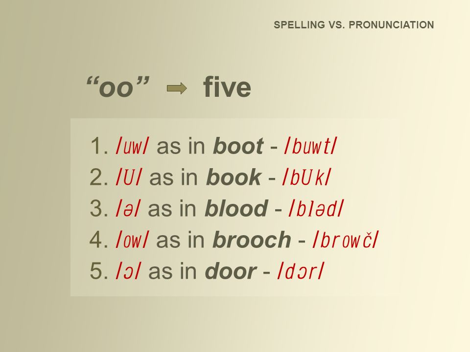 oo five SPELLING VS. PRONUNCIATION 1./ / as in boot - / / 2./ / as in book - / / 3./ / as in blood - / / 4./ / as in brooch - / / 5./ / as in door - /