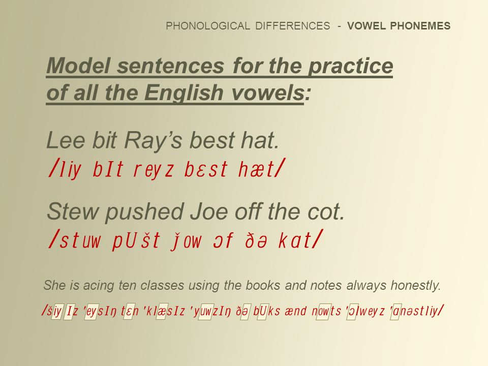 PHONOLOGICAL DIFFERENCES - VOWEL PHONEMES Model sentences for the practice of all the English vowels: She is acing ten classes using the books and not