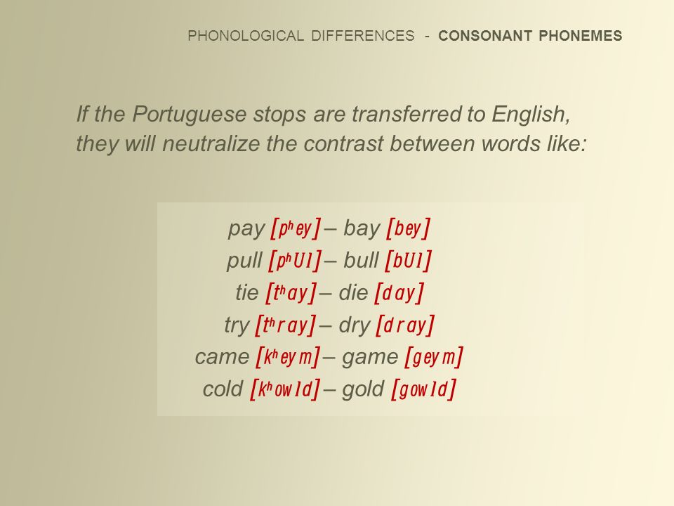 If the Portuguese stops are transferred to English, they will neutralize the contrast between words like: PHONOLOGICAL DIFFERENCES - CONSONANT PHONEME