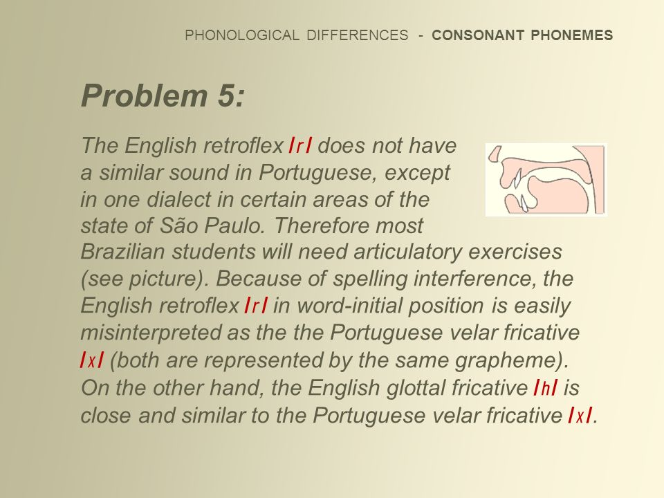 PHONOLOGICAL DIFFERENCES - CONSONANT PHONEMES Problem 5: The English retroflex / / does not have a similar sound in Portuguese, except in one dialect