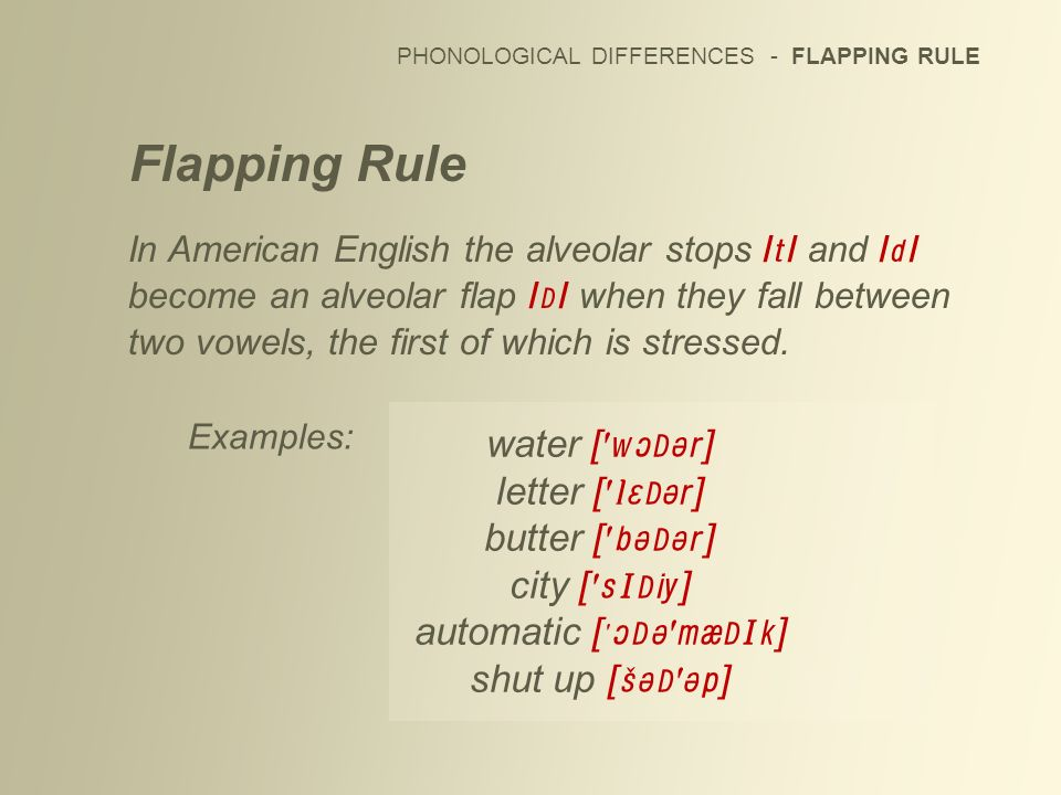 PHONOLOGICAL DIFFERENCES - FLAPPING RULE Flapping Rule In American English the alveolar stops / / and / / become an alveolar flap / / when they fall b