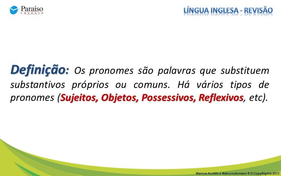 Definição : Sujeitos, Objetos, Possessivos, Reflexivos Definição : Os pronomes são palavras que substituem substantivos próprios ou comuns.
