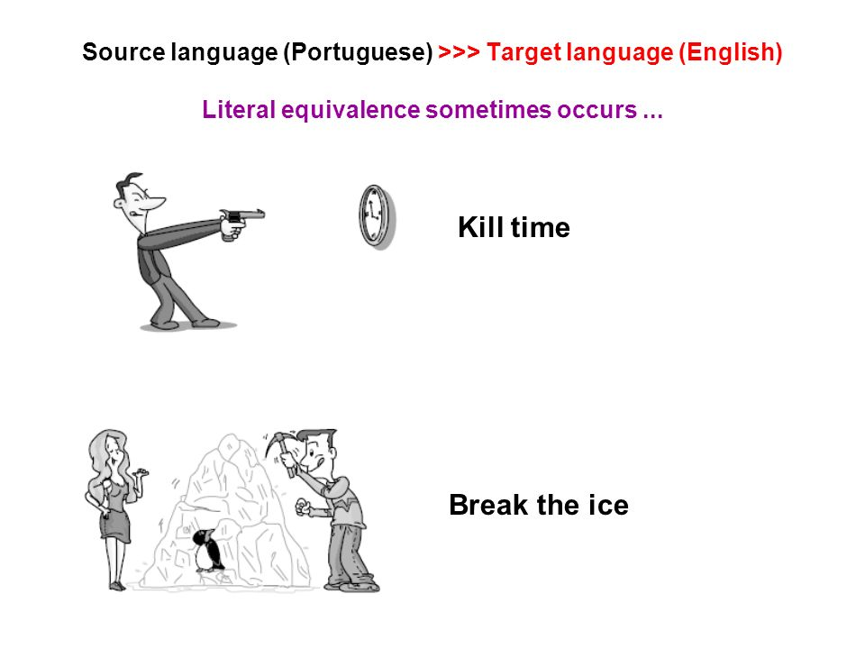 Source language (Portuguese) >>> Target language (English) Literal equivalence sometimes occurs...