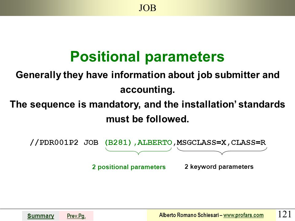 121 Summary Prev.Pg. Alberto Romano Schiesari – www.profars.comwww.profars.com JOB Positional parameters Generally they have information about job sub