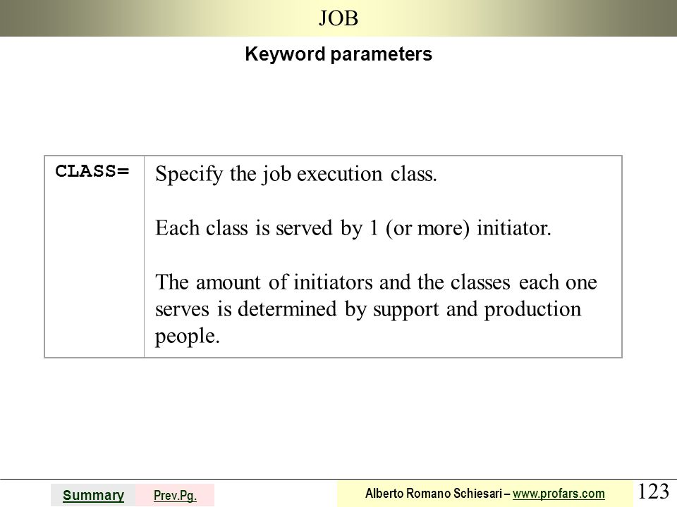 123 Summary Prev.Pg. Alberto Romano Schiesari – www.profars.comwww.profars.com JOB Keyword parameters CLASS= Specify the job execution class. Each cla