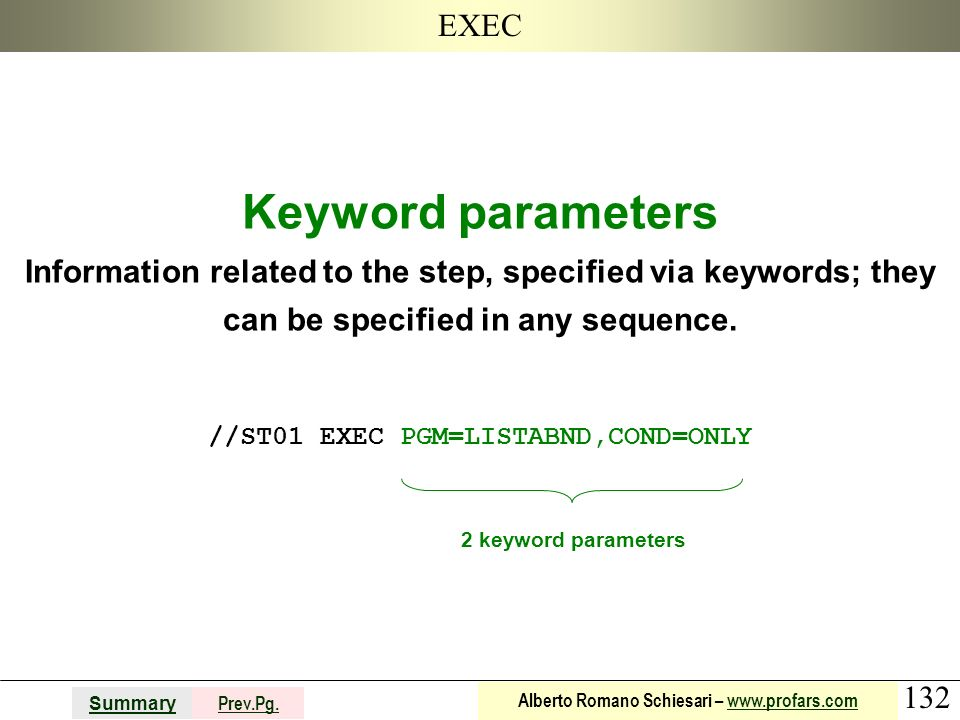 132 Summary Prev.Pg. Alberto Romano Schiesari – www.profars.comwww.profars.com EXEC Keyword parameters Information related to the step, specified via