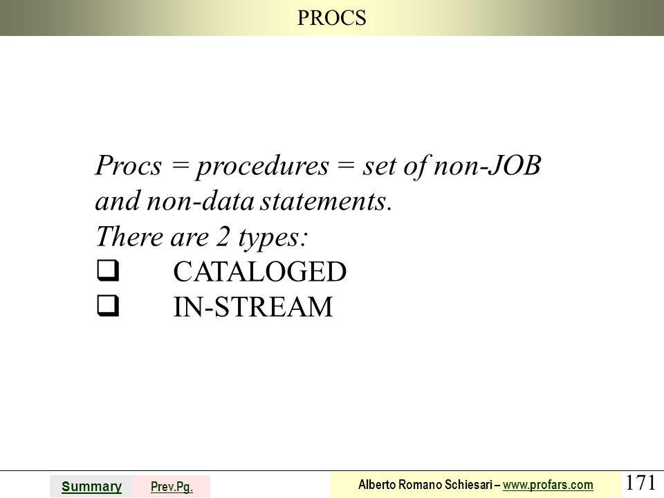 171 Summary Prev.Pg. Alberto Romano Schiesari – www.profars.comwww.profars.com PROCS Procs = procedures = set of non-JOB and non-data statements. Ther