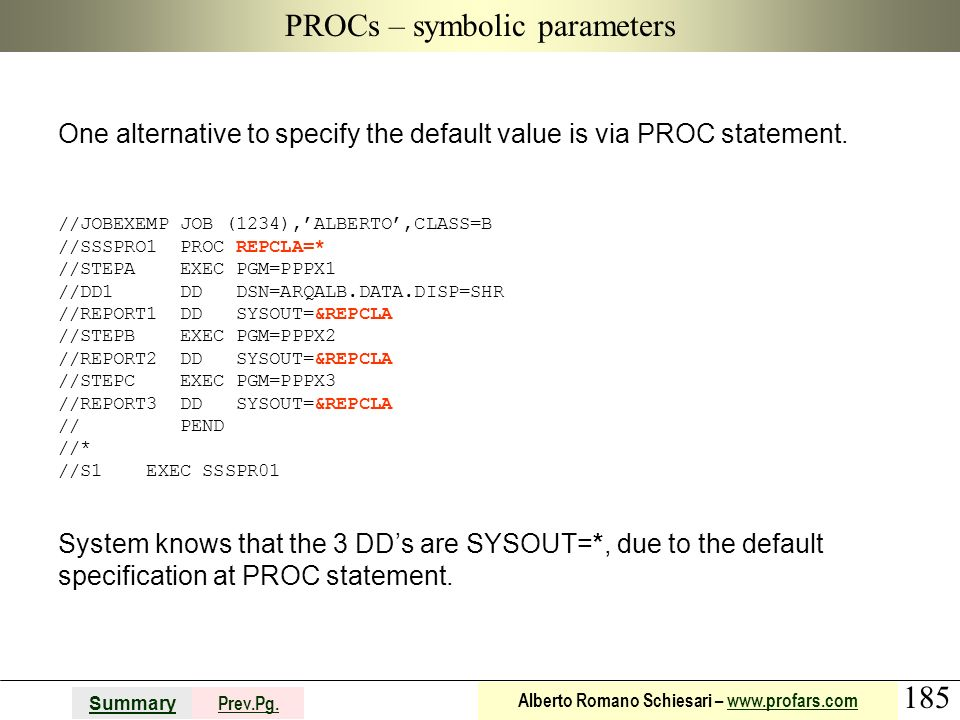 185 Summary Prev.Pg. Alberto Romano Schiesari – www.profars.comwww.profars.com PROCs – symbolic parameters One alternative to specify the default valu