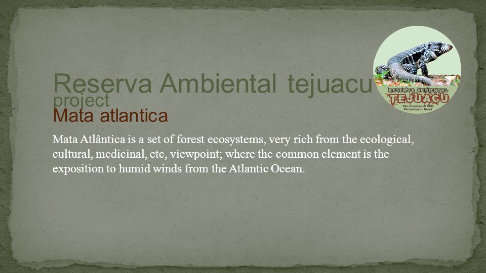 Mata Atlântica is a set of forest ecosystems, very rich from the ecological, cultural, medicinal, etc, viewpoint; where the common element is the exposition to humid winds from the Atlantic Ocean.