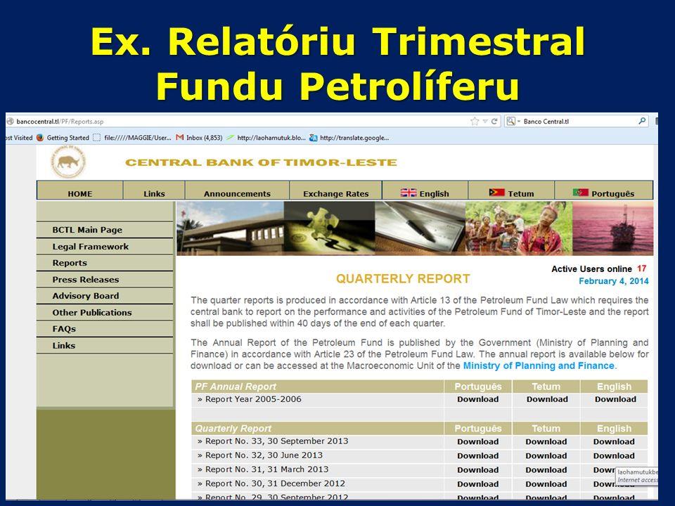 Ex: Fundu Petrolíferu Osan tama no sai kada trimestre Fonte: Relatóriu Trimestral husi Banku Sentrál Timor-Leste
