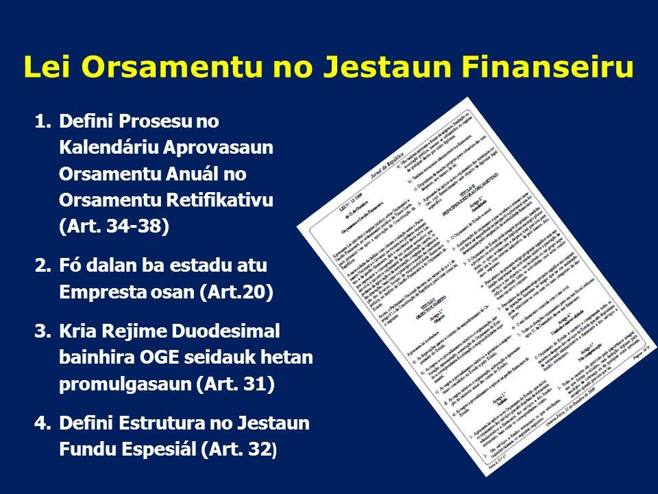 Kuadru Legal Orsamentu Estadu Artigu 145 (Orsamentu Jerál Estadu nian) 1.Governu mak halo Orsamentu Jerál Estadu nian, no Parlamentu Nasionál mak sei