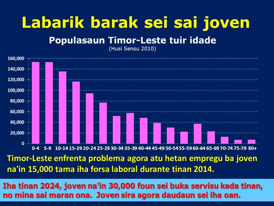 Populasaun Timor-Leste nia populasaun maioria nudár agrikultór Barak liu hela iha area rurais