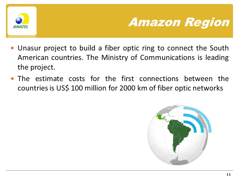 Amazon Region Unasur project to build a fiber optic ring to connect the South American countries.