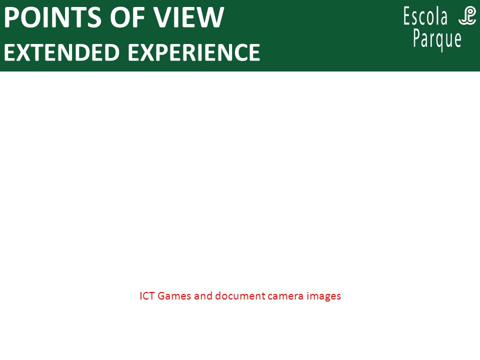 PARA PENSAR, ENQUANTO SE PLANEJA: POINTS OF VIEW EXTENDED EXPERIENCE ICT Games and document camera images