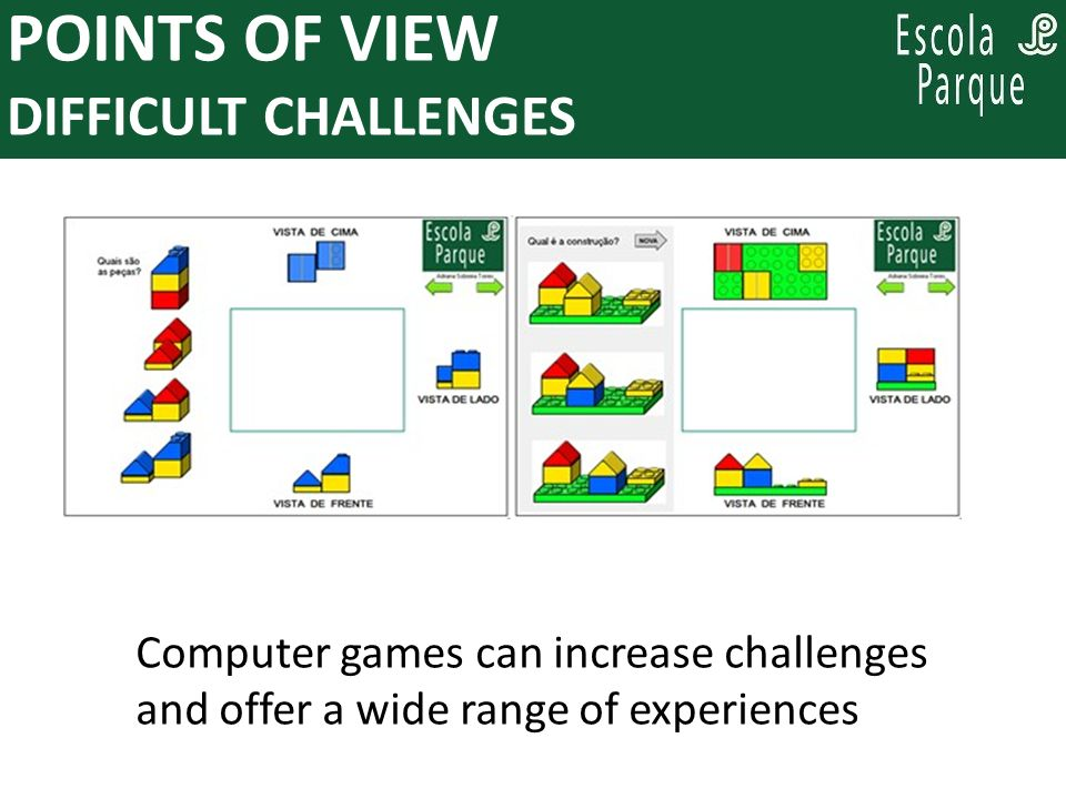 PARA PENSAR, ENQUANTO SE PLANEJA: POINTS OF VIEW DIFFICULT CHALLENGES Computer games can increase challenges and offer a wide range of experiences