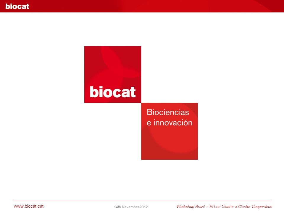 www.biocat.cat Workshop Brazil – EU on Cluster x Cluster Cooperation 14th November 2012 www.biocat.cat