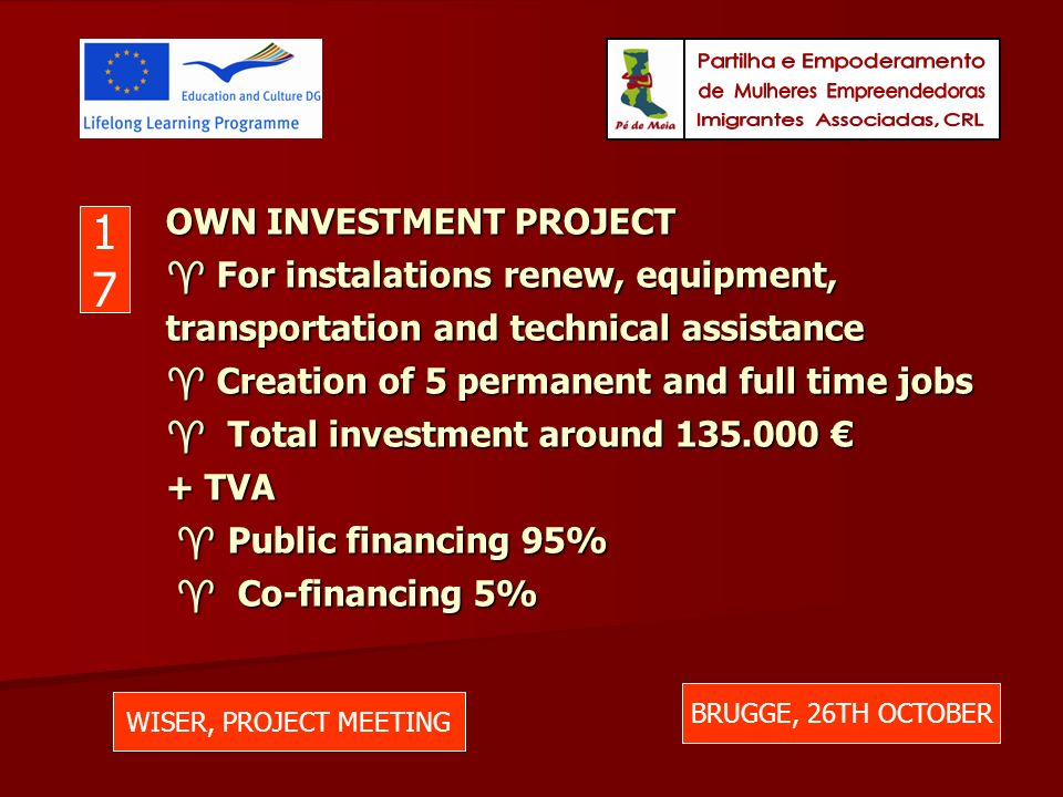 OWN INVESTMENT PROJECT For instalations renew, equipment, transportation and technical assistance Creation of 5 permanent and full time jobs Total investment around 135.000 + TVA Public financing 95% Co-financing 5% WISER, PROJECT MEETING BRUGGE, 26TH OCTOBER 1717