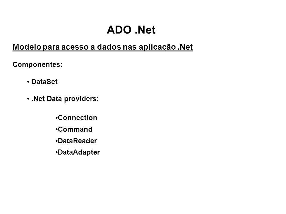 ADO.Net Modelo para acesso a dados nas aplicação.Net Componentes: DataSet.Net Data providers: Connection Command DataReader DataAdapter
