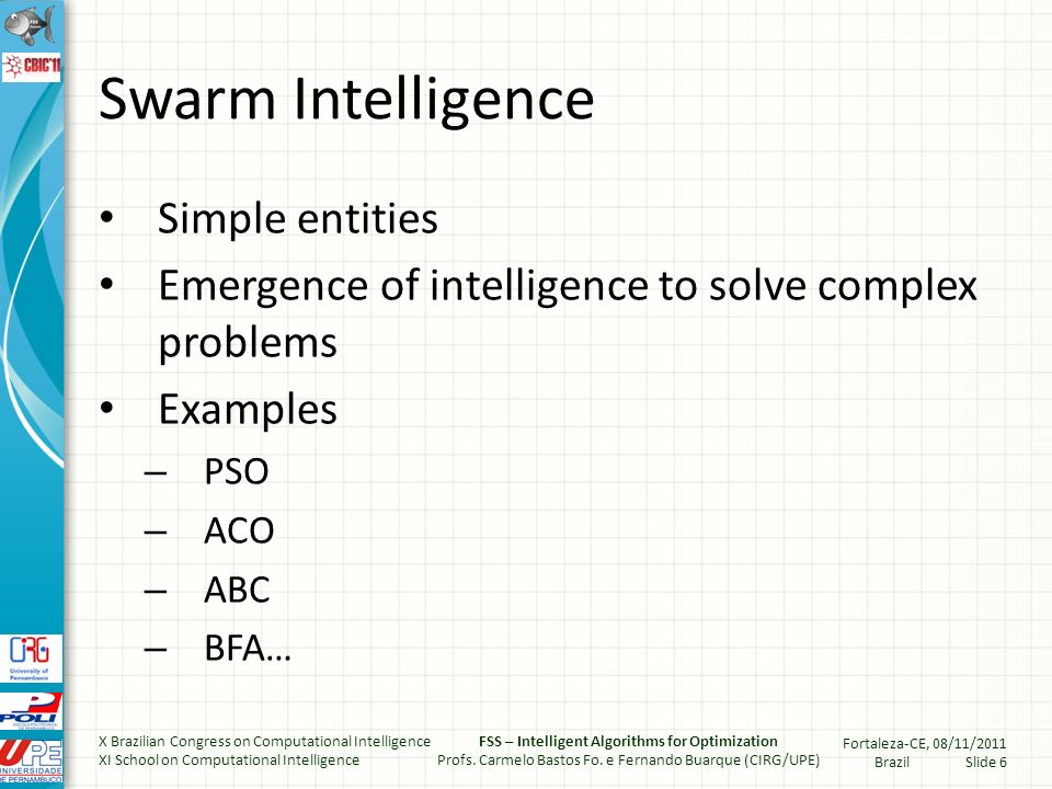 Swarm Intelligence Simple entities Emergence of intelligence to solve complex problems Examples – PSO – ACO – ABC – BFA… X Brazilian Congress on Computational Intelligence XI School on Computational Intelligence FSS – Intelligent Algorithms for Optimization Profs.