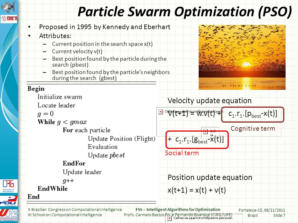 Particle Swarm Optimization (PSO) Proposed in 1995 by Kennedy and Eberhart Attributes: – Current position in the search space x(t) – Current velocity v(t) – Best position found by the particle during the search (pbest) – Best position found by the particles neighbors during the search (gbest) Velocity update equation V(t+1) = w.v(t) + c 1.r 1.[p best -x(t)] + c 1.r 1.[g best -x(t)] Position update equation x(t+1) = x(t) + v(t) Social term Cognitive term X Brazilian Congress on Computational Intelligence XI School on Computational Intelligence FSS – Intelligent Algorithms for Optimization Profs.