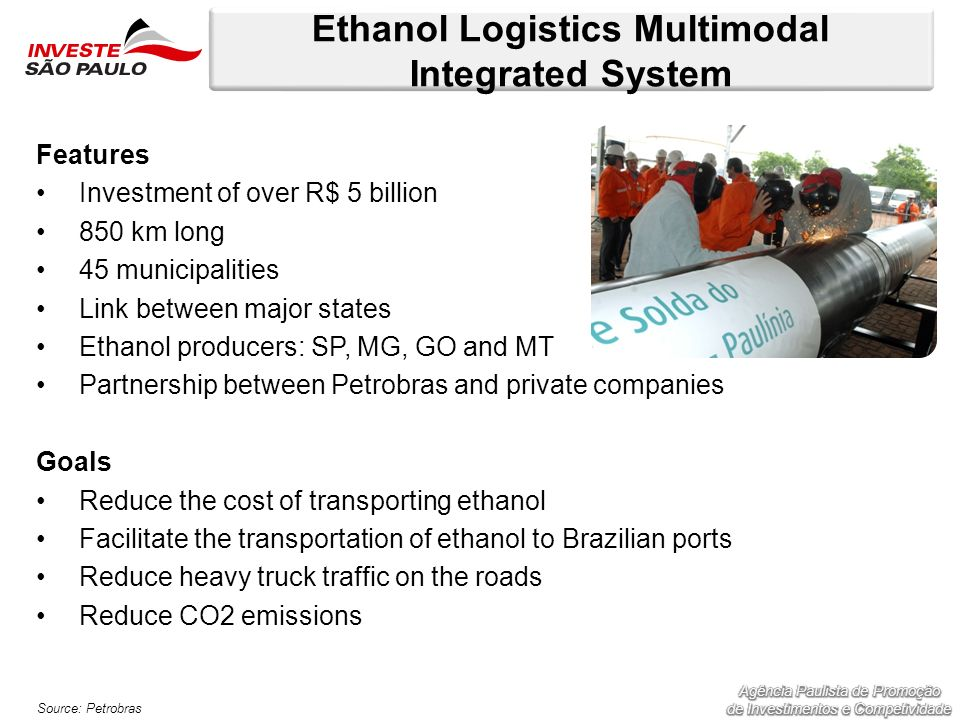 Ethanol Logistics Multimodal Integrated System Features Investment of over R$ 5 billion 850 km long 45 municipalities Link between major states Ethano
