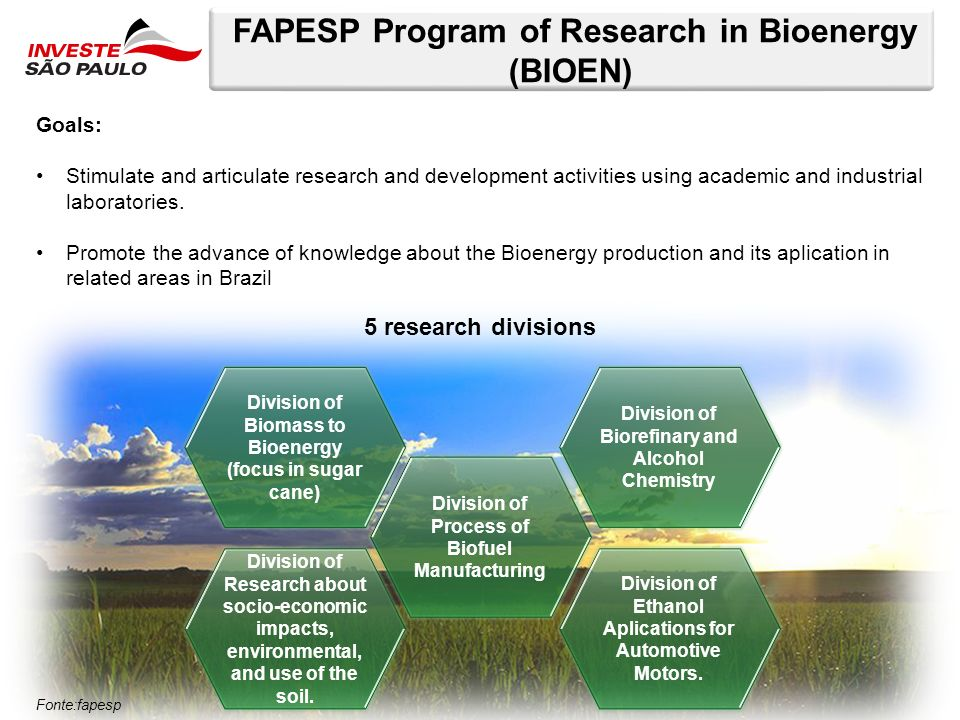 FAPESP Program of Research in Bioenergy (BIOEN) Goals: Stimulate and articulate research and development activities using academic and industrial labo