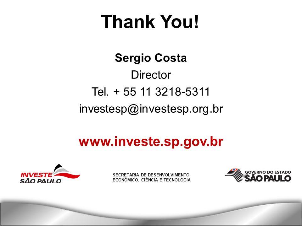 SECRETARIA DE DESENVOLVIMENTO ECONÔMICO, CIÊNCIA E TECNOLOGIA Thank You! Sergio Costa Director Tel. + 55 11 3218-5311 investesp@investesp.org.br www.i