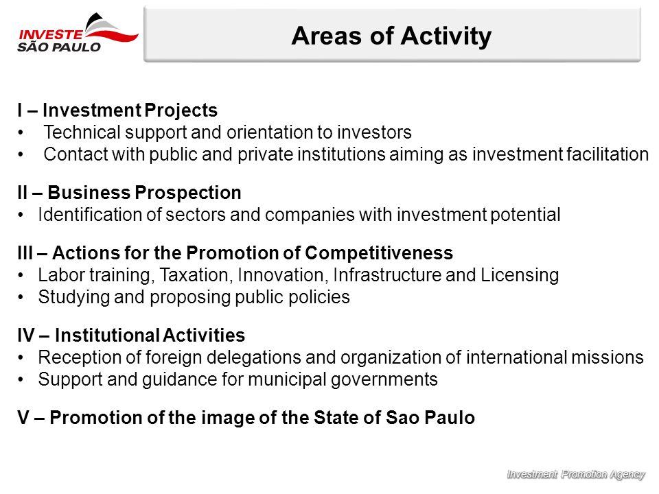 Areas of Activity I – Investment Projects Technical support and orientation to investors Contact with public and private institutions aiming as invest