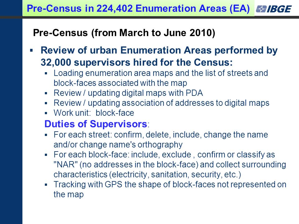 Pre-Census (from March to June 2010) Review of urban Enumeration Areas performed by 32,000 supervisors hired for the Census: Loading enumeration area