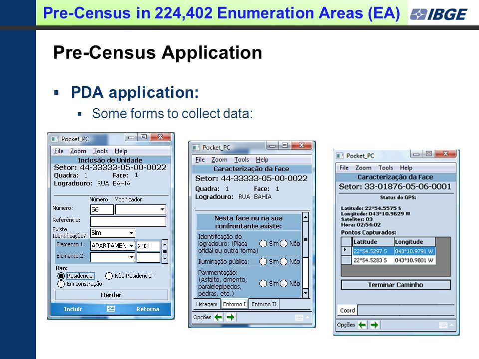 Pre-Census Application PDA application: Some forms to collect data: Pre-Census in 224,402 Enumeration Areas (EA)