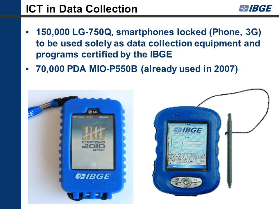 ICT in Data Collection 150,000 LG-750Q, smartphones locked (Phone, 3G) to be used solely as data collection equipment and programs certified by the IB