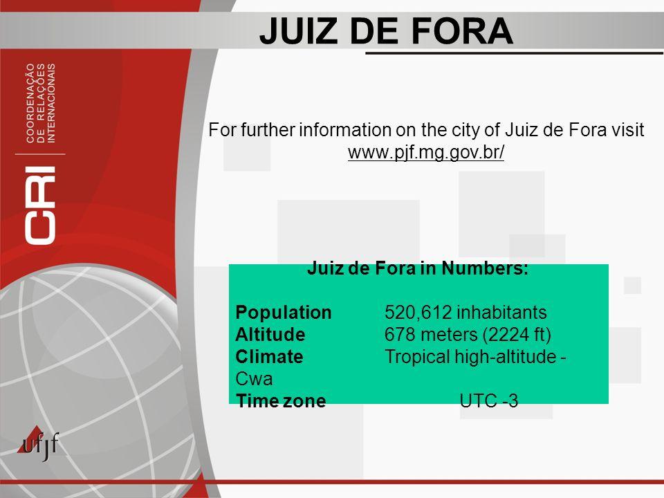 JUIZ DE FORA Juiz de Fora in Numbers: Population 520,612 inhabitants Altitude678 meters (2224 ft) ClimateTropical high-altitude - Cwa Time zoneUTC -3 For further information on the city of Juiz de Fora visit www.pjf.mg.gov.br/