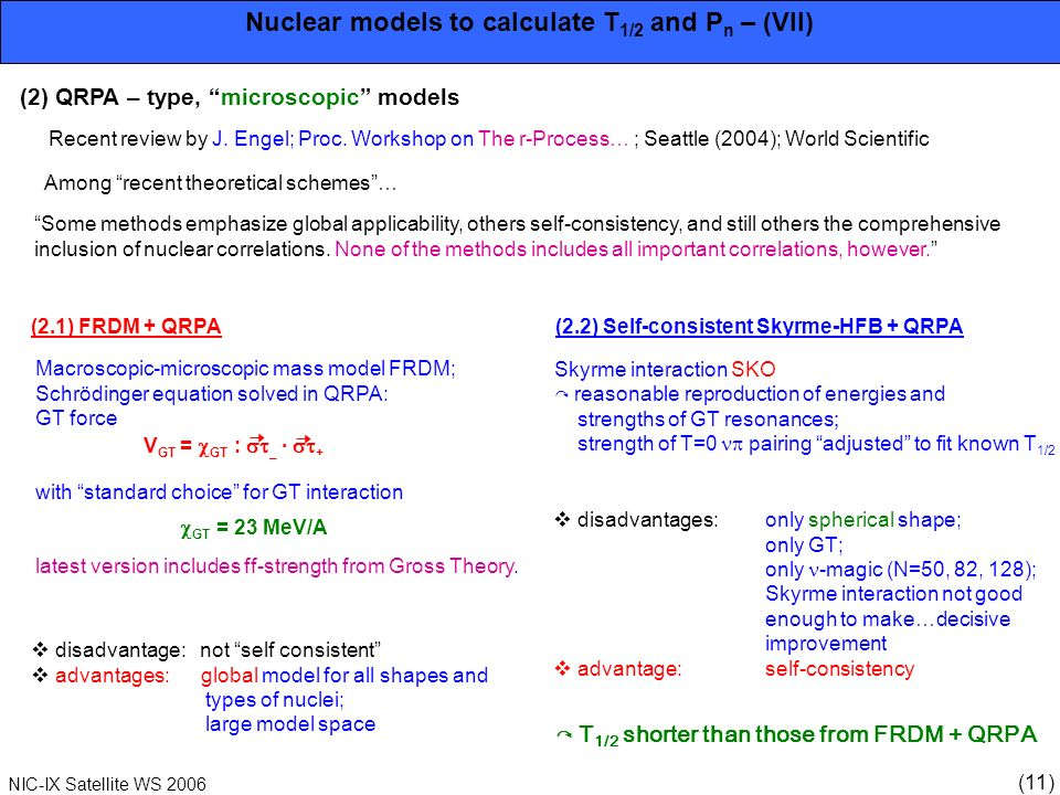 (11) NIC-IX Satellite WS 2006 Nuclear models to calculate T 1/2 and P n – (VII) (2) QRPA – type, microscopic models Recent review by J. Engel; Proc. W