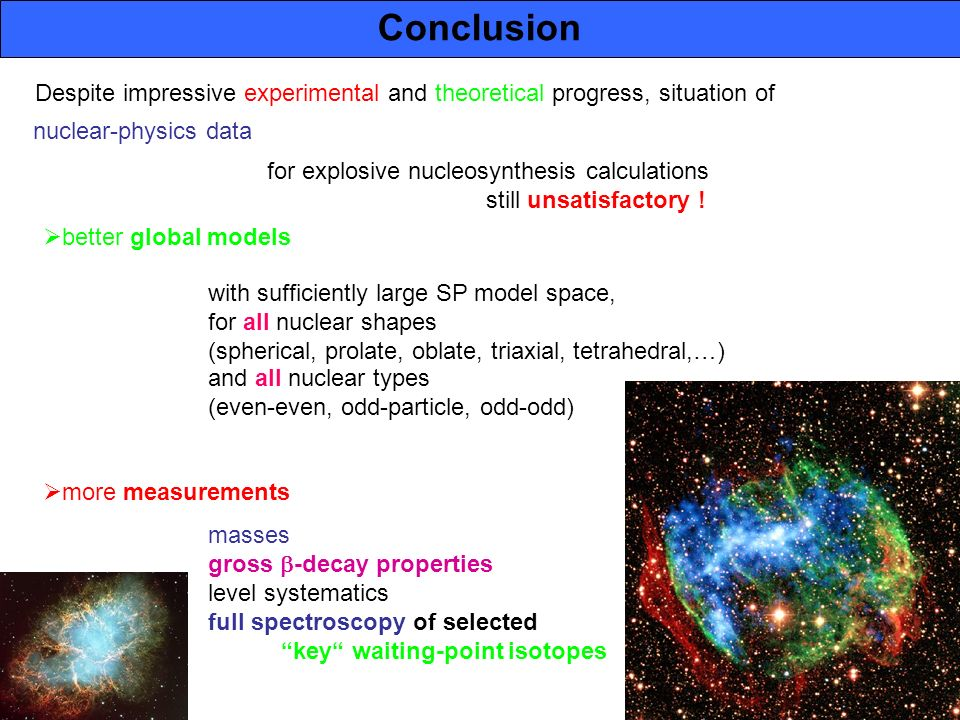 (28) NIC-IX Satellite WS 2006 Conclusion nuclear-physics data for explosive nucleosynthesis calculations still unsatisfactory ! better global models w