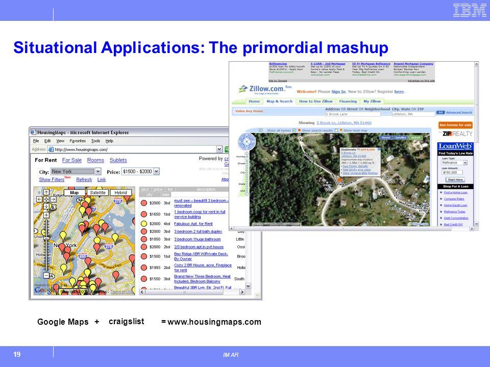 19 IM AR Situational Applications: The primordial mashup www.housingmaps.com craigslist Google Maps+=