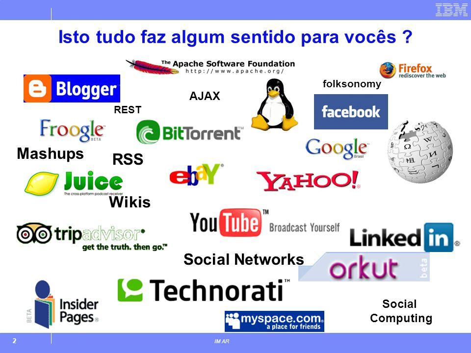 2 IM AR Isto tudo faz algum sentido para vocês ? folksonomy Wikis Social Networks Social Computing AJAX RSS Mashups REST