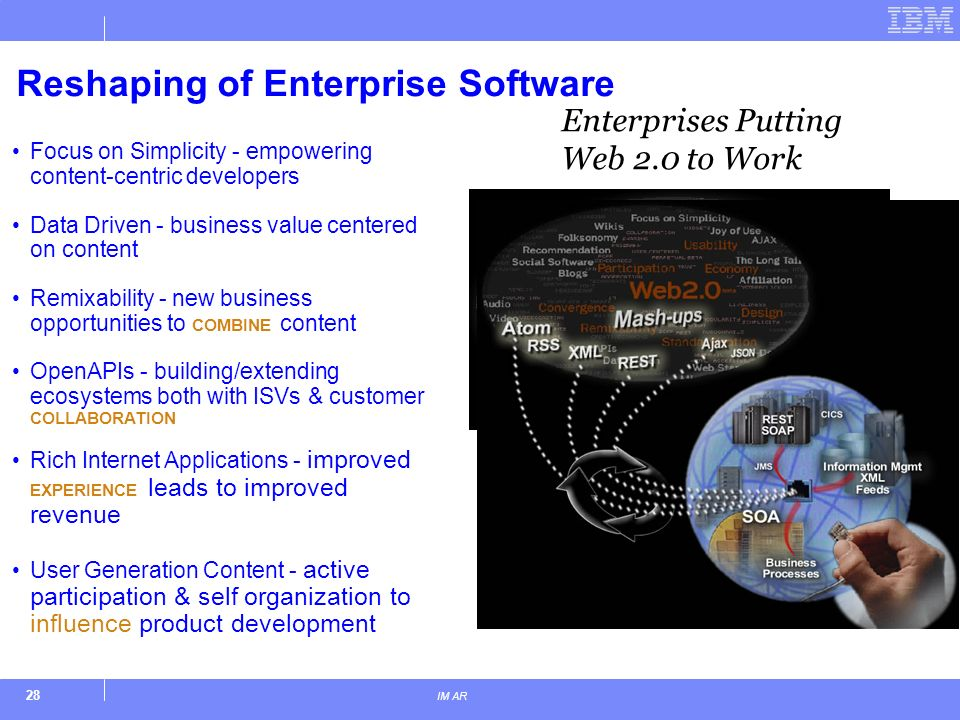 28 IM AR Reshaping of Enterprise Software Focus on Simplicity - empowering content-centric developers Data Driven - business value centered on content Remixability - new business opportunities to COMBINE content OpenAPIs - building/extending ecosystems both with ISVs & customer COLLABORATION Rich Internet Applications - improved EXPERIENCE leads to improved revenue User Generation Content - active participation & self organization to influence product development Enterprises Putting Web 2.0 to Work