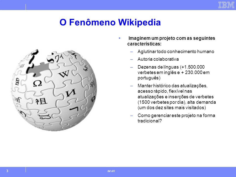 3 IM AR O Fenômeno Wikipedia Imaginem um projeto com as seguintes características: –Aglutinar todo conhecimento humano –Autoria colaborativa –Dezenas